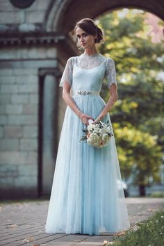 Pale Blue Wedding Dresses by Katya Katya Shehurina / http://www.himisspuff.com/blue-wedding-dresses/5/