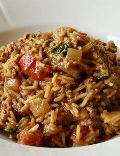 Alt-i-ett indisk kjøttgryte - minimaldesign. Biryani, Wok, Paleo, Risotto, Nom Nom, Curry, Food And Drink, Ethnic Recipes, Asia