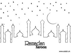 Colouring pages - ADaBi Islamic books & gifts for kids Eid Crafts, Ramadan Crafts, Free Printable Coloring Pages, Printable Cards, Poster Ramadhan, Eid Images, Islam Ramadan, Ramadan Activities, Islam For Kids