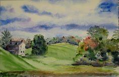 Winterthur, 8x12 watercolor plein air by Annie Strack, $145