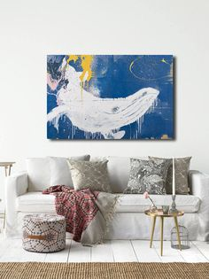 Whale Canvas Wall Art Whale Gifts Whale Art Print Large