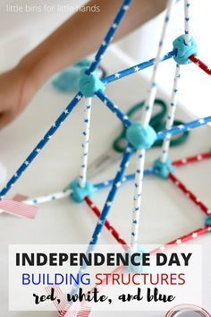 Independence Day building structures for STEM activities kids really enjoy. Red white and blue Activity for both of July summer engineering and STEM challenge that includes science, technology, engineering, and math. Structure building activities are Independence Day Activities, Science Activities For Kids, Steam Activities, Stem Science, Holiday Activities, Summer Activities, Physical Science, Indoor Activities, Science Experiments