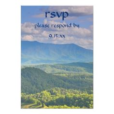 Shop Smoky Mountain Country Wedding / Party RSVP created by nationalpark_t_shirt. Outdoor Wedding Invitations, Mountain Wedding Invitations, Outdoor Wedding Reception, Wedding Rehearsal, Wedding Rsvp, Wedding Cards, Dinner Invitations, Wedding Ideas, Smoky Mountain
