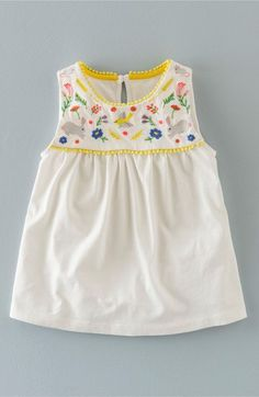 Mini Boden 'Field Friends' Embroidered Sleeveless Tunic (Toddler Girls, Little Girls & Big Girls) available at #Nordstrom