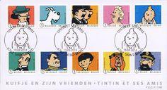 Les personages de la BD Tintin en timbres-poste.