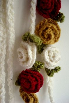 Fall lariat -  flowers crocheted  lariat in white with speckles of green, mustard and red, scarf, neckpiece, by sewella on Etsy.
