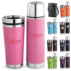 Promotional Leatherette Tumbler Vacuum Bottle Set #gifts #logo #drinkware #promoproducts #advertising