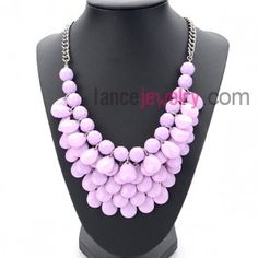 Sweet series necklace with purple water drops shape
