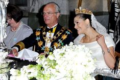 Crown Princess Victoria of Sweden, her father King Carl Gustaf of Sweden and Ewa Westling. (Pascal Le Segretain/Getty Images Europe)