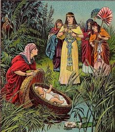 Bible The Childhood of Moses, illustration from a Bible card published in 1900 by the Providence Lithograph Company, public domain image