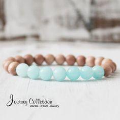Amazonite Bracelet Healing Bracelet Mala Beads Yoga Jewelry Untreated Rosewood Meditation Jewelry