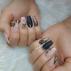 gold, blush, and black nails