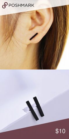 SALE! Simple & Chic Modern Black Bar Earrings These bar stud earrings are simple and understated but classic and chic! Lovely black finish. Limited Quantities! Jewelry Earrings