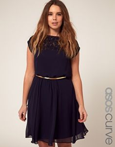 ASOS lace dress, navy, lilac, or peach