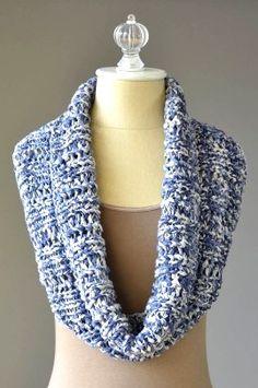 "Cowl Measures: 2 balls Fibra Natura Denims Yarn (cottony tape yarn)     Size US Size 10.5 needle 40"" circumfrence x 8.5"" deep circular 24""      Stitch marker     Tapestry needle     DOWNLOAD Rib and Lace Cowl Free Knitting Pattern"