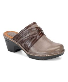 Loving this Gray & Coffee Leather Binda Clog on #zulily! #zulilyfinds