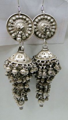 India | An old pair of Jumkee's from Rajasthan | The ear wires are a recent addition. | Solid Silver.