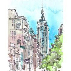 New York sketch Empire State, New York City Art Print from a... ($25) ❤ liked on Polyvore featuring backgrounds, sketches, drawings, filler, illustration, doodle and scribble