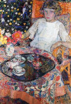 Leon De Smet - Little Girl at the Table, Private Collection, Oil Painting on Canvas