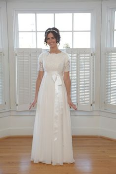 Christy, Modest Chiffon Wedding Dress