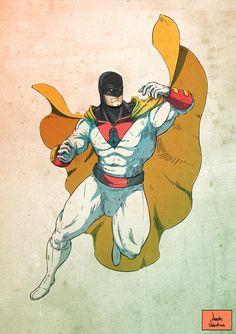Fan Art do Space Ghost Comic Book Characters, Comic Character, Comic Books Art, Comic Art, Character Design, Space Ghost, Desenhos Hanna Barbera, Space Hero, D Mark