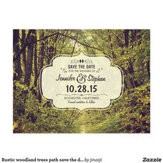 or create your own personalized gifts rustic woodland trees path save the date postcards