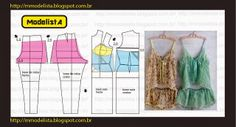 Diagram showing how to modify a pant and dress block into a lingerie set