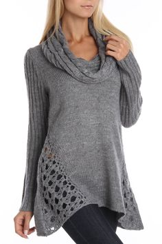 Grey Cable Stitch Drape Neck Sweater with crochet vented side panels Gilet Crochet, Knit Crochet, Tricot D'art, Warm Sweaters, Knit Fashion, Knitwear, Knitting Patterns, Cute Outfits, My Style