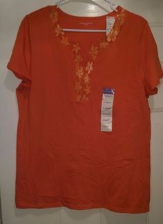 Laura Scott NWT Woman's Orange w/ Light/Dark Orange Floral Neckline Shirt Size L #LauraScott #Blouse #Casual