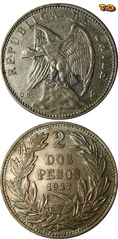 N♡T. Chile 2 Pesos: 1927 Years Minted: 1927 Composition: 0.500 silver Diameter Type: 33 mm Weight: 18 grams ( 0.2893 ounces of silver) Total Series Mintage: 1,060,000
