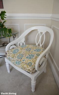 Vintage chair makeover with new upholstered cushion