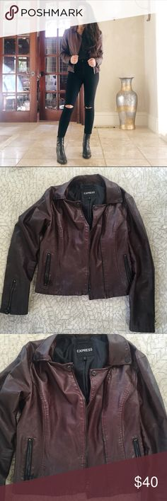 Burgundy faux leather jacket Burgundy jacket with black details. Very comfortable and in great condition! No damage or signs of wear. Express Jackets & Coats