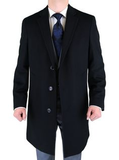 Warm overcoat, nice & modern fit and cut, extra soft cashmere blend Luciano Natazzi Men's Black Cashmere Wool Overcoat Modern Topcoat Black