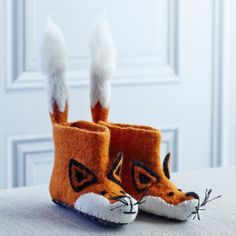 Children's Felt Animal Slippers. Oh. My. Goodness these are adorable. I want some for myself.