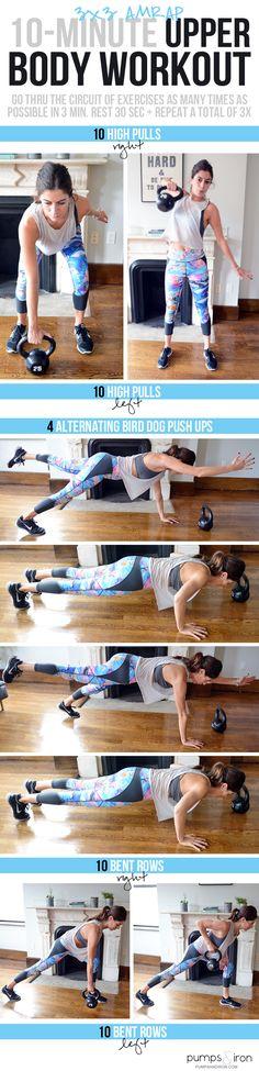 10-Minute Upper Body Workout -- fun 3x3 AMRAP structure