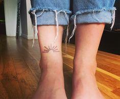Sunrise tattoo. Hand poked tattoo. Dot tattoo. Stick and poke tattoo. Ankle tattoo.
