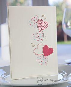 Valentine hearts a flutter by stampin up Valentines Day Cards Handmade, Wedding Cards Handmade, Valentines Diy, Valentines Hearts, Tarjetas Diy, Diy Wedding Stationery, Karten Diy, Ideias Diy, Wedding Anniversary Cards