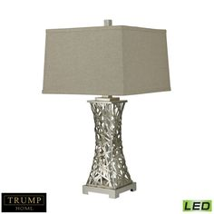 Strands of metal are woven together by hand into a birds nest form on the base of this lamp! Gorgeous! Lighting Inc, Elk Lighting, Cool Lighting, Traditional Lamp Bases, Led Light Fixtures, Metal Table Lamps, Light Bulb Types, Leaf Table, Lighting Solutions