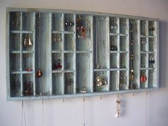 Jewelry Display Organizer Storage In Aqua Blue - Gold Hooks -earrings…