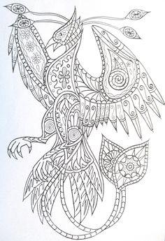 Steampunk phoenix coloring page printable adult Kleuren voor volwassenen…