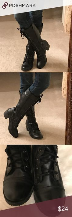 """These Boots Are Made For Walking"" Black boots Black lace up 2 1/2"" heeled boots with zipper closure     Boots hit below the knees.   These have been gently worn and price reflects the wear Shoes Lace Up Boots"