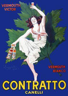 Contratto Vermouth by Cappiello. 1925 https://www.vintagevenus.com.au/vintage/reprints/info/D422.htm