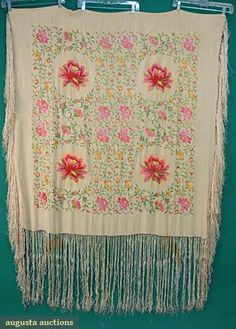 EMBROIDERED EXPORT SHAWL, c. 1900