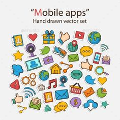 Mobile Apps by AldanNa Vector Mobile Apps. Scrapbook Sticker Set.With web-cam,gift,hand,thumb up,application, phone,laptop,briefcase,gallery, photo album