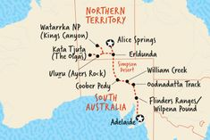 Map of Alice Springs to Adelaide Overland Australia Tours, Alice Springs, Road Trip, Wanderlust, Map, Places, Travel, Lugares, Viajes