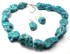 Bulky Turquoise Fashion Necklace and Earrings Set