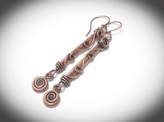 Wire earrings, Copper jewelry. Antiqued copper wire wrapped stick earrings with scrolling. Handcrafted jewelry. by JCLwire on Etsy