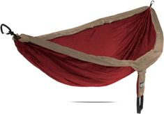 Khaki/Maroon Eno nylon hammock, holds 2 people up to 400 lbs, portable into little carry bag included, 21 colors at REI, $69 without stand.