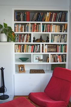 Living room lounge, home living room, built in bookcase, bookcases, i spy d Living Room Lounge, Home Living Room, Built In Bookcase, Bookshelves, I Spy Diy, Storing Books, Red Sofa, Home Projects, House Tours