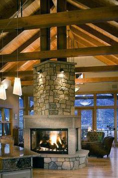 Timber Traditional - traditional - Living Room - Denver - Gerber Berend Design Build, Inc. The Effective Pictures We Offer You About fireplace mirror A quality picture can tell you many things. Home Fireplace, Living Room With Fireplace, Fireplace Design, Fireplace Grate, Custom Fireplace, See Through Fireplace, Double Sided Fireplace, Barn House Plans, Pull Barn House
